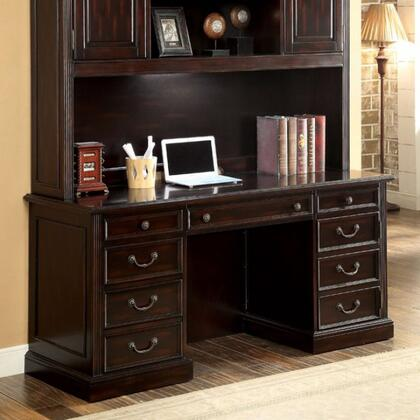 Coolidge CM-DK6208CD Credenza Desk with Transitional Style  Multiple Drawers  Keyboard Tray  Solid Wood  Wood Veneer and Others in