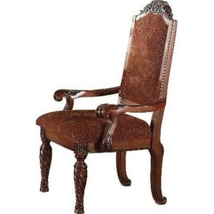 Quimby Collection 60278 18 inch  Arm Chair with Microfiber Upholstered Seat and Back  Turned Legs and Nail Head Accents in Cherry
