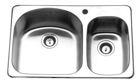 KSDC2031R/9/3 32 inch  Right Hand Combination Double Bowl Drop-In Kitchen Sink  18 Gauge Stainless Steel  3 Faucet
