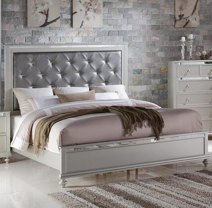 Christopher Collection Queen Size Bed with Faux Leather Upholstered Headboard  Low Profile Footboard  Turned Legs  Pinewood and Tropical Wood Construction in