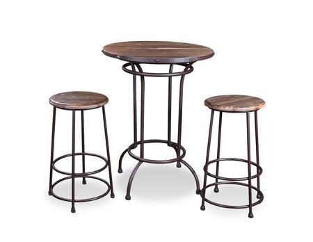 Urban Loft  Collection HH-8975-032-3PC 3-Piece Pub Table Set with Table and 2 Stools in Distressed
