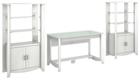 Aero Collection MY16128-03-292 3-Piece Desk Set with Writing Desk and 2 Tall Storage Cabinet in Pure White