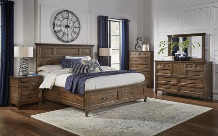 Harborside Collection HABSVQSBDMNC 5-Piece Bedroom Set with Queen Storage Bed  Dresser  Mirror  Nightstand and Chest in Savannah Brown 912326