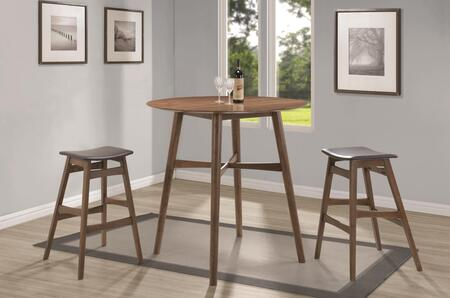 Bar Units and Bar Tables 101435SET 3 PC Bar Table Set with Bar Table + 2 Bar Stools in Walnut