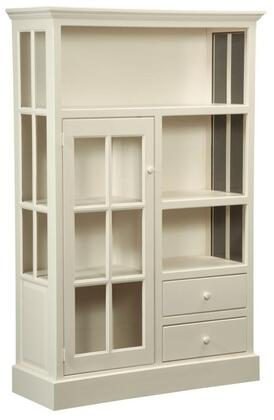 "Rebekah 465017 46"" Kitchen Cupboard with 2 Drawers 1 Glass Door Simple Hardware and Pine Wood Construction in Country White thumbnail"