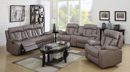 Isidro 51420SLR 3 PC Living Room Set with Sofa + Loveseat + Recliner in Grey