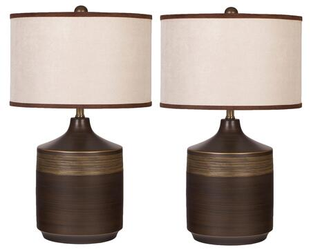 "Karissa L129914 Set of 2 25"""" Ceramic Table Lamp with Drum Shade  3-Way Switch and Ribbed Details on the Base in"" 356838"