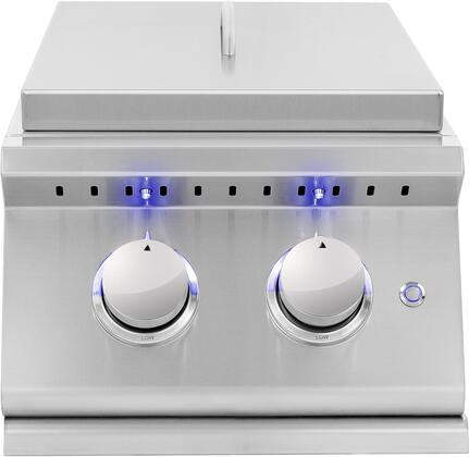 SIZPROSB2-NG Sizzler Pro Series Natural Gas Double Side Burners with Brass Ring Burners  205 sq. in Cooking Surface  Front Panel LED Lighting  Removable