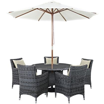Summon Collection EEI-2328-GRY-BEI-SET 7-Piece Outdoor Patio Sunbrella Dining Set with 5 Armchairs  Dining Table and Umbrella in Antique Canvas