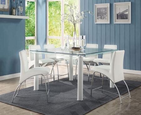 Gordie Collection 702503 7 PC Bar Table Set with Glass Top Counter Height Table and 6 PU Leather Upholstered Counter Height Chairs in White