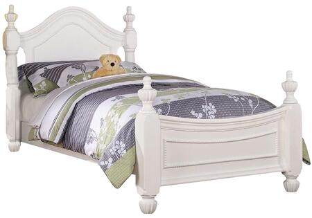 Classique Collection 30125T Twin Size Poster Bed with Acorn Finials  Pumpkin Bun Feet  Raised Bead Detail and Pine Wood Construction in White