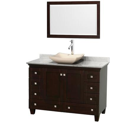 Wcv800048sescmgs2m24 48 In. Single Bathroom Vanity In Espresso  White Carrera Marble Countertop  Avalon Ivory Marble Sink  And 24 In.