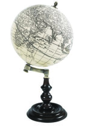 GL045 Trianon Globe with Rosewood  Brass & Plastic w/Paper Gores Material  in Ivory & Honey Distressed French