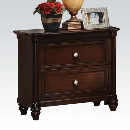 Amaryllis Collection 22383 28 inch  Nightstand with 2 Drawers  Metal Hardware  Center Metal Drawer Glides  Turned Bun Feet and Wood Frame in Cherry