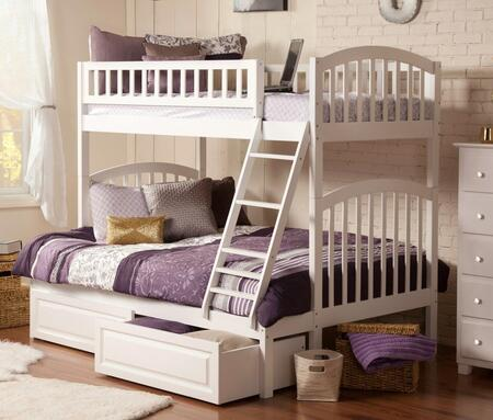 Richland AB64222 Twin Over Full Bunk Bed With Raised Panel Bed Drawers In