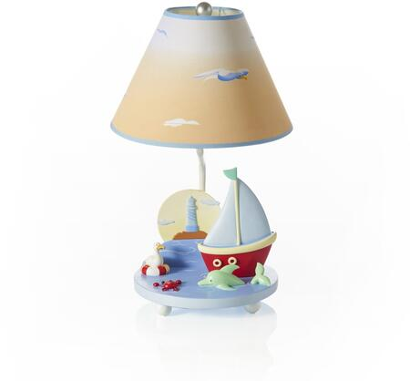 Sailing G88207 19 inch  Table Lamp with On and Off Switch  Hand Painted and Sunset Shade in Multi