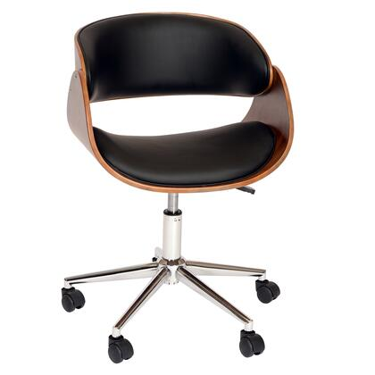 LCJUOFCHBL Julian Modern Chair In Black And Walnut Veneer Back and