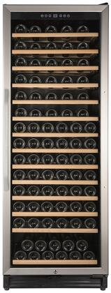WCF149SE3S 24 inch  Single Temperature Zone Wine Cooler with 149 Bottle Capacity  Security Lock  Wooden Shelves  Tempered Glass Door  and LED Lighting  in Stainless
