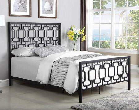 Annabella Collection 300768KE King Size Bed with Open-Frame Panel Design and Steel Metal Construction in