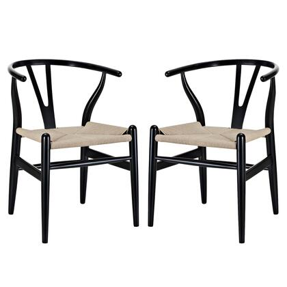 Eei-1319-blk Set Of 2 Amish Dining Armchair With Stretchers In Black