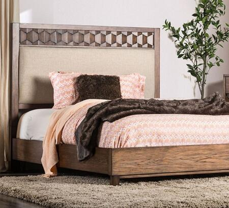 Kallisto CM7582FEKBED Chestnut Brown Fabric/Wood King Bed by Furniture of America