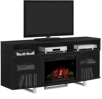 26MM9665-NB157 Enterprise Lite Electric Fireplace Entertainment Center with Tempered Glass Doors  Side Storage Cabinets and Adjustable Shelves in High Gloss
