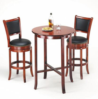 Chelsea Collection 07195BS 3 PC Bar Table Set with Bar Table + 2 Bar Stools in Oak