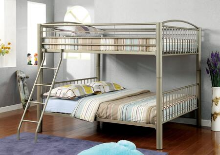 Lovia Collection CM-BK1037F Full/Full Size Bunk Bed with Movable Ladder  Detachable Bunk Bed  Attached Ladder and Full Metal Construction in Metallic Gold