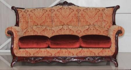 2200BURGUNDYS Traditional Style Sofa with Hand Carved High Gloss Mahogany Wood Frame  Exquisite Details and Finest Patterned Fabric Upholstery in