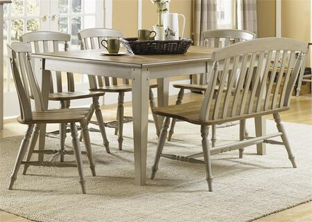 Al Fresco Collection 541-CD-6RTS 6-Piece Dining Room Set with Rectangular Dining Table  Bench and 4 Slat Back Side Chairs in Driftwood & Taupe