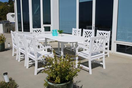 V1335SET14 Bradley Outdoor 9-Piece Wood Patio Dining Set With Extension Table In