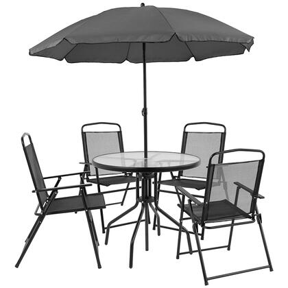 GM-202012-BK-GG Nantucket 6 Piece Patio Garden Set With Table  Umbrella And 4 Folding Chairs 35