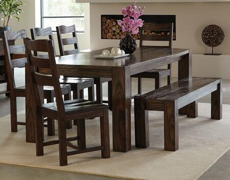 Calabasas Collection 121151-5SCB 7-Piece Dining Room Set with Rectangular Dining Table  5 Side Chairs and 1 Bench in Dark