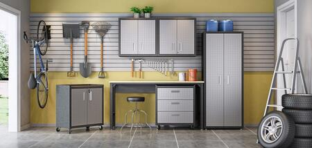Fortress Collection 6-GGGG 6-Piece Textured Garage Set with Tall Cabinet  2x Floating Cabinets  Mobile Chest  Mobile 2-Drawer Cabinet and Garage Table in
