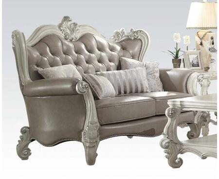 Versailles Collection 52126 70 inch  Loveseat with Pillows Included  Vintage Grey PU Leather Upholstery  Button Tufted Tight Back  Reversible Seat Cushions in Bone