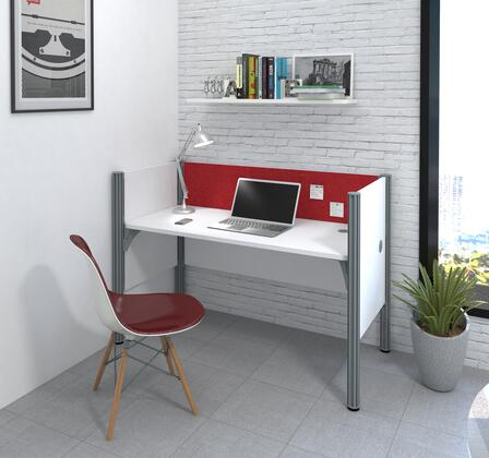 100871CR-17 Pro-Biz Simple workstation in White with Red Tack
