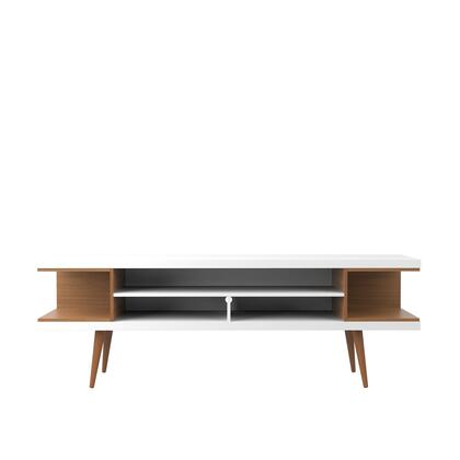 19752 Utopia 70.47 inch  TV Stand with Splayed Wooden Legs and 4 Shelves in White Gloss and Maple