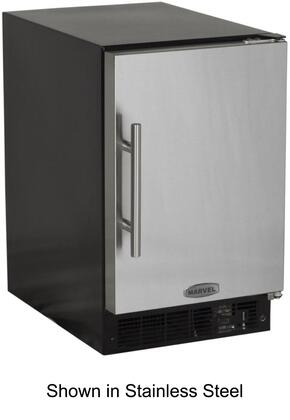 """15IMBBFR Solid Black Door 15"""" ADA Height Ice Maker with 15 lbs. Storage Capacity  12 lbs. Daily Production  Designer Handle  Manual Defrost  Crescent Style Ice"""