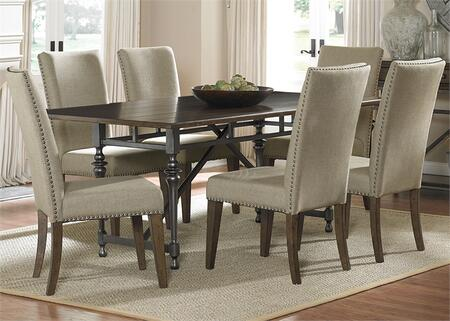 Ivy Park Collection 563-CD-7RLS 7-Piece Dining Room Set with Rectangular Dining Table and 6 Side Chairs in Weathered Honey Finish with Silver