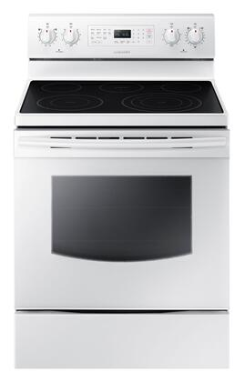 "NE59J7630SW 30"" 5.9 cu. ft. Freestanding Electric Range with  5 Smooth Top Electric Elements  Storage Drawer  True Convection Oven  Steamquick and Hot Surface"