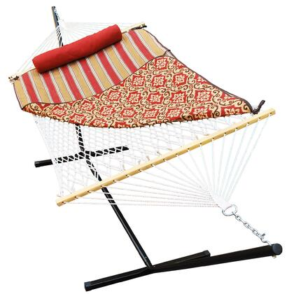 8913 144 inch  Cotton Rope Hammock  Stand  Pad and Pillow Combination in Red