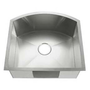 LI-3000-B Bari 22 1/2 inch  Single Bowl Undermount Kitchen Sink with Soundproofing System and Mounting Hardware in Stainless