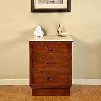 JB0270CMM 24 inch  Drawer Bank with 3 Drawers and Cream Marfil Marble Top in Brown