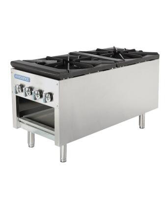 TASP18D Double Stock Pot Stove with Stainless Steel Construction  79000 BTU Burner  Heat Resistant Knobs  Stainless Steel Pilots and Removable Crumb Tray: