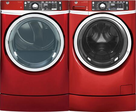 Ruby Red Front Load Laundry Pair with GFW490RPKRR 28