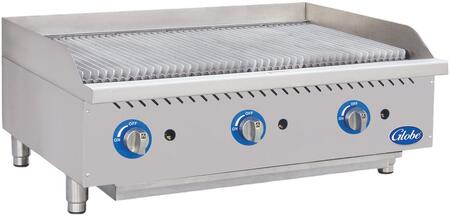 Gcb36g-cr 36 Countertop Cast Iron Radiant Heat Charbroiler With Up To 40 000 Btus  U-style Burners  And Liquid Propane Conversion Kit In Stainless