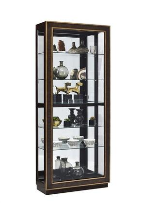 P021587 Curio with Sliding Front Entry  Four Adjustable Glass Shelves and Prima Vera Door Inlays in
