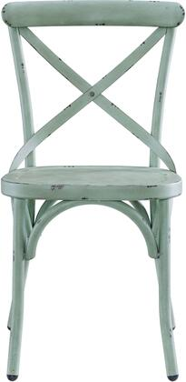 DS-D067 19.5 inch  Metal Dining Chair with All-Metal Construction  'X' Back Style and Hand Distressed in Antique