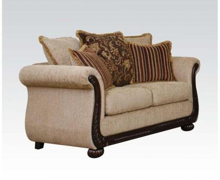 Rachell Collection 52361 63 inch  Loveseat with 5 Pillows Included  Made in USA  Removable Cushions  Rolled Arms  Pumpking Bun Leg and Fabric Upholstery in Radar