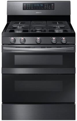 "NX58M6850SG 30"" Freestanding Gas Range with 5.8 cu. ft. Capacity  Flex Duo  5 Burners  and Soft Close Door  in Black Stainless"